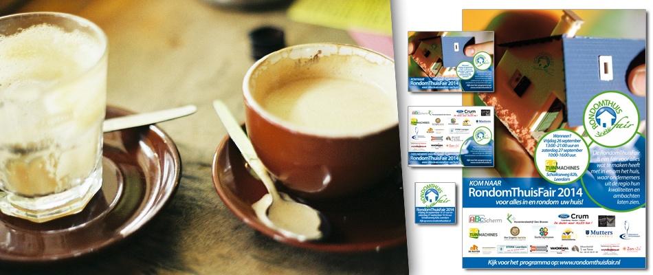 Grafische koffiecombinatie goed benut • GenG Tuinmachines gebruikt ontwerp en koffie op locatie voor RondomThuisFair 2014